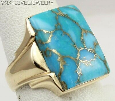 UNIQUE Antique 1920's Art Deco Mosaic Turquoise 10k Solid Yellow Gold Men's Ring