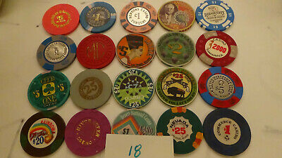 CASINO CHIPS  LOT 20 Las Vegas & OTHERS OBSOLETE  of 20 QTY a18