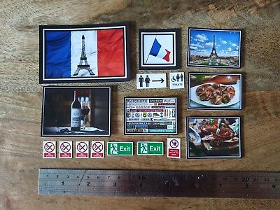 12th Dolls House Modern French Restarant Cafe Wall Signs1:12 Scale Dollhouse