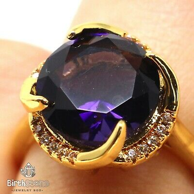 Large 5CT Round Purple Amethyst Ring Women Birthday Jewelry 14K Yellow Gold