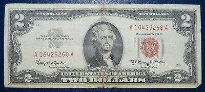 Series 1963A Two Dollar $2 Bill Red Seal US Note Currency Collection A16426268A