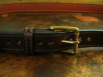 """Mens THICK Brown Stitched Bullhide Steel Core Belt 1 1/2"""" Wide Fits 54-56"""" USA"""