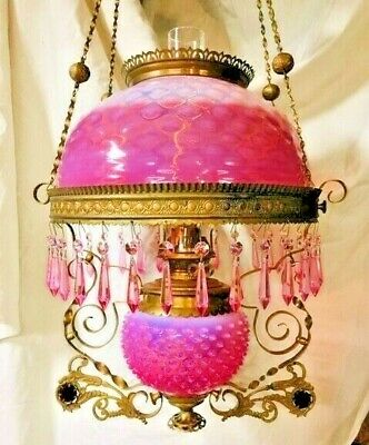 """Ansonia Hanging Lamp; New England """"Peach-Blow"""" Hobnail Shade & Font Cover"""