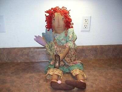 Primitive Raggedy Ann Folk Art Tea Stained Handcrafted