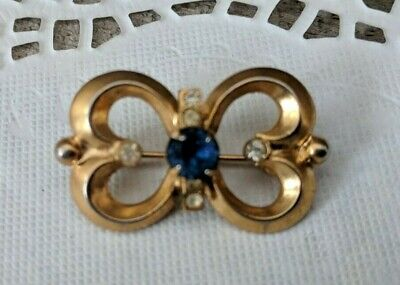 Antique Art Deco Rhinestone Bow Pin Brooch Gold-tone Unsigned