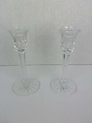 """WATERFORD Crystal 7"""" Pair LISMORE Candlesticks Candle Holders 8 Vertical Cuts"""