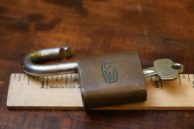 Vintage Best brass padlock lock with key Ford Indianapolis