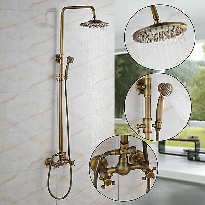 Antique Brass Wall Mount Shower Faucet Dual Handles Mixer Tap Hand Shower Spray