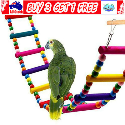 Wooden Hanging Pet Bird Parrot Ladder Macaw Cage Swing Shelf Bites Play Toys GN