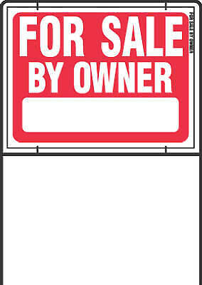 """Sign, """"For Sale By Owner"""", Red & White With Wire Frame, 18 x 24-In."""