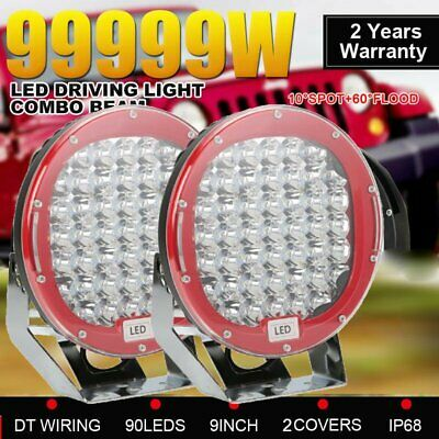 PAIR 9 inch LED SPOT Driving Lights Round CREE Spotlights 12V 24V BLACK# 99999W