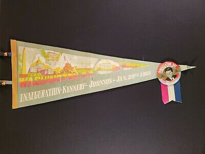 Authentic Original 1961 John F Kennedy (JFK) Inauguration Day Pennant and Button