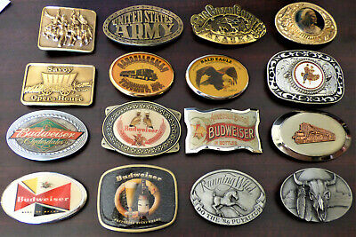 Lot of 16 Brass Pewter Metal Vintage Belt Buckles
