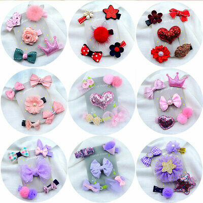 Lovely Bowknot Kids Girl Baby Hairpin Barrette Infant Hair Clip Accessories 5PCS
