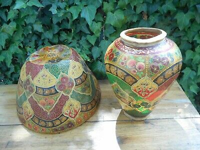 Antique Persian Middle East Islamic Hand Painted Lamp Shade & Vase Animal Hide