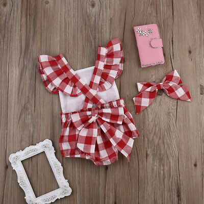 Newborn Baby Girl Cotton Bowknot Clothes Bodysuit Romper Jumpsuit Outfit Set