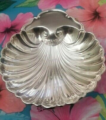 Crescent Vintage Silverplate Seashell Serving Tray - 97F - dolphin feet