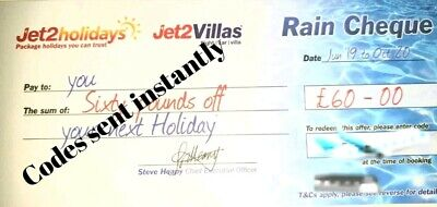 2 x £60 Summer 2020 Jet2Holidays Rain cheque voucher Expires OCT 2020.