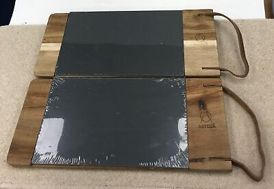 "2 Kitchen Craft Artesa Rustic Wood Serving/Cheese Board/Tray/Platter 15"" #058"