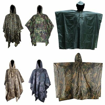 Men Outdoor Waterproof Military Army Camo Raincoat Hooded Camping Hunting Coat