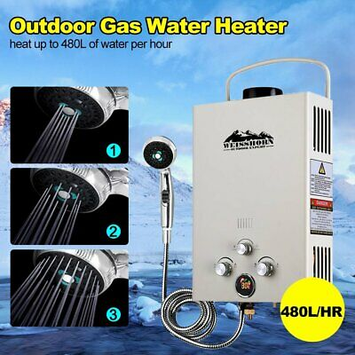 Weisshorn Lpg Gas Portable Hot Water Heater Camp Shower Caravan Horse Wash Beige