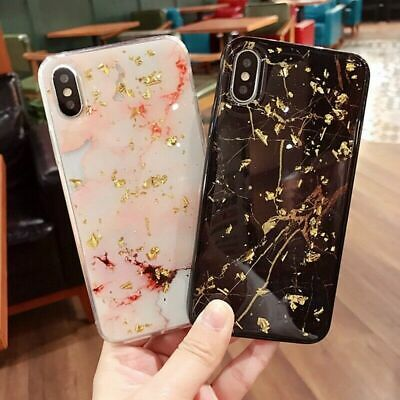 Case For iPhone XS Max XR X 8 7 6 6s Plus Bling Marble Shockproof Silicone Cover
