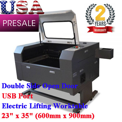 """23""""x35"""" 100W CO2 Laser Cutter Engraver Double Side Open Door, Electric Lifting"""