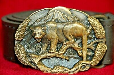 Vintage brass American Mountain Lion Puma Cougar Panther 3D oval belt buckle