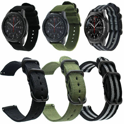 18-24mm Quick Release Military Woven Nylon Canvas Fabric Band Strap Black Buckle