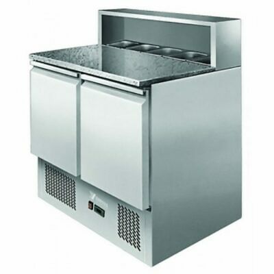 Commercial Bench Fridge Stainless 2 Door Marble Saladette Pizza Chiller Atosa...