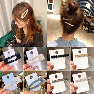 Fashion Womens Slide Snap Hair Clips Barrette Hairpin Crystal Pins Accessories