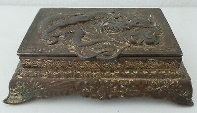Old Chinese White Metal Stamp Box - With Embossed Dragon Scene To Top