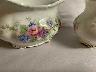 "Royal Albert ""Colleen"" Bone China Creamer/Milk Jug and Matching Sugar Bowl Roses"
