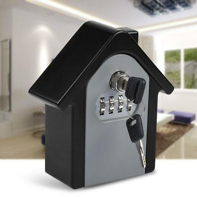 4 Digit Combination Key Lock Box Wall Safe Security Storage Case Organizer Black