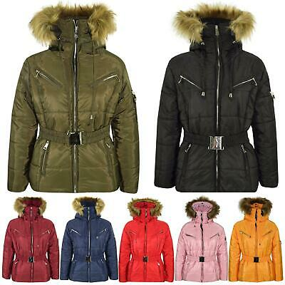 Kids Girls Jacket Puffer Hooded Faux Fur Padded Zipped Belted Slim Fit Warm Coat