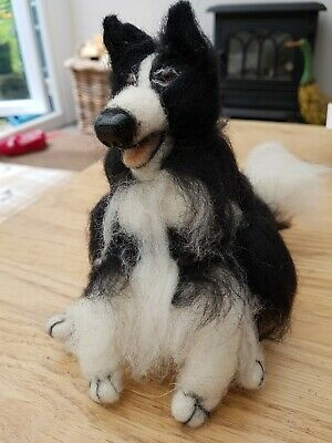 Large Handmade needle felted fun Border Collie with moveable paw.