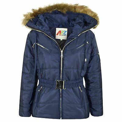 Kids Girls Jacket Puffer Hooded Faux Fur Navy Padded Zipped Belted Top Warm Coat
