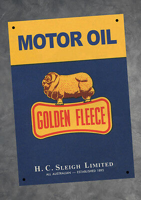 Golden Fleece Motor Petrol Oil Man Cave Metal A4 Sign