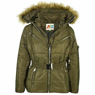 Kids Girls Jackets Puffer Hooded Faux Fur Olive Padded Zipped Belted Warm Coats