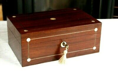 Victorian Rosewood Jewellery Box + Mother Of Pearl Inlay, Nice Item