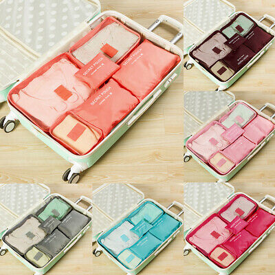 6Pcs Travel Storage Bags Clothes Organizer Waterproof Luggage Suitcase Pouches