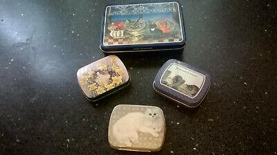 collection of  vintage cat theme storage tins trinket boxes