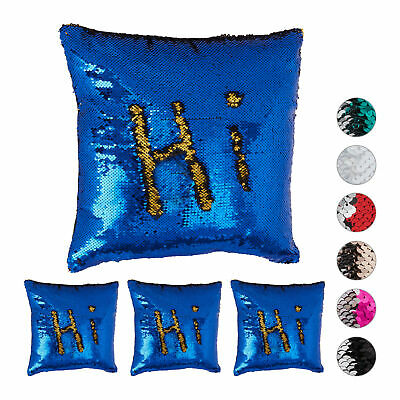 4 x Sequined Pillowcase, Decorative Cushion Cover 40 x 40 cm, Dark Blue-Gold