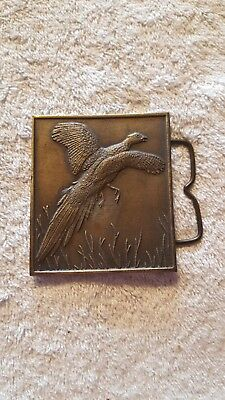 Vintage Brass Pheasant Belt Buckle, Hunters Gift!
