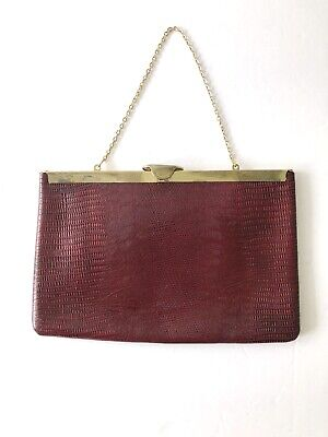 Vintage Etra Genuine Leather Clutch Red Oxblood Snake Texture Gold Trim Chain
