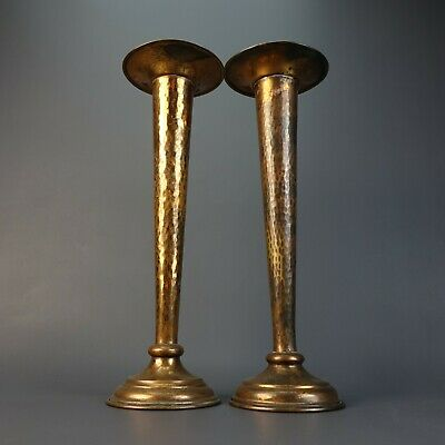 """Vintage MCM Pair of Unique Hand Made Hammered Copper Candlestick Stand 14"""""""