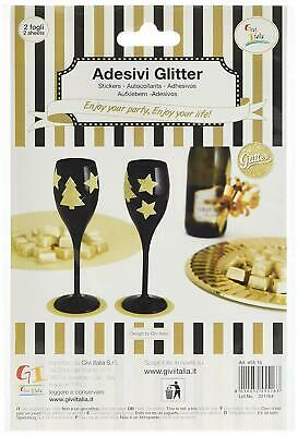 Gold Glitter Stickers Stars & Trees 3cm, 40 pcs Decoration STICKERS Givi Italia