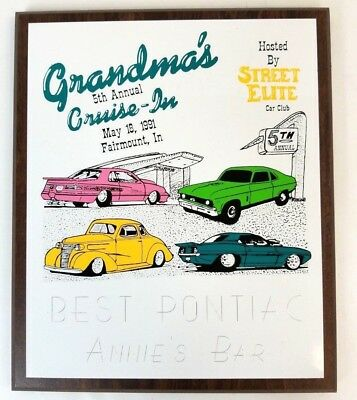 5th Annual Grandmas Cruise In Street Elite Car Club Plaque Trophy Best Pontiac