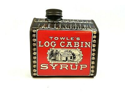1979 Log Cabin Towle's Syrup General Foods Tin Metal Bank Screw On Slotted Cap
