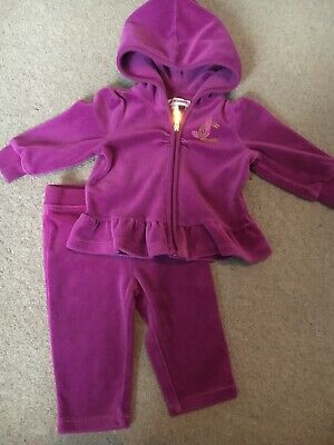 bdb9dffc9c JUICY COUTURE BABY girl pink velour Hooded TRACKSUIT 3/6M 6/9M full ...